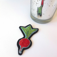 Hand Embroidered Radish Fibre Art Patch