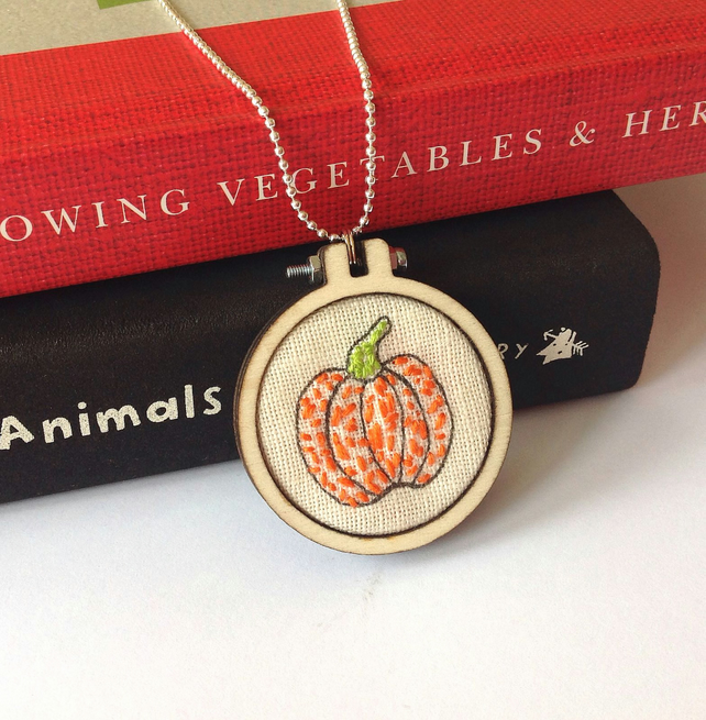 Hand Embroidered Pumpkin Necklace
