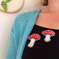 Brooch, Hand Embroidered Toadstool