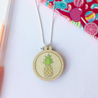 KIT, Necklace Kit, Pineapple Embroidery Kit