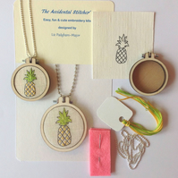 Beginners Embroidery Necklace Kit, Pineapple Embroidery Kit