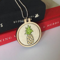 Pineapple Hand Embroidered Necklace