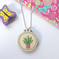 Hand Embroidered Succulent Plant Necklace