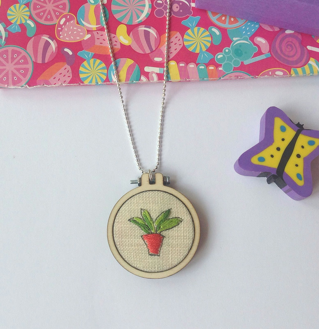 Hand Embroidered Mini Hoop Plant Necklace