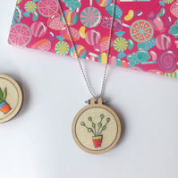 Hand Embroidered Mini Hoop Pot Plant Necklace