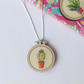 Hand Embroidered Cactus Necklace