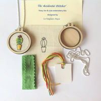 KIT, Necklace Pendant Kit, Cactus Embroidery Kit.