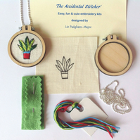 KIT, Pendant Kit, Leafy Plant Embroidery Kit Necklace