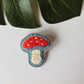 Toadstool Hand Embroidered Felt Brooch