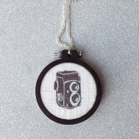 Retro Twin-lens Reflex Camera Illustration Pendant & Chain