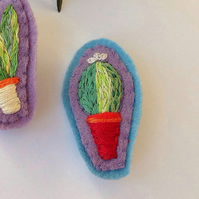 Hand Embroidered Cactus Plant Brooch