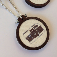 Retro Camera Illustration Pendant & Chain