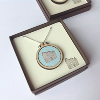 Hastings Net Huts Illustration Pendant And Chain