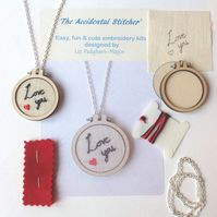 KIT, Necklace Pendant Kit, Love You Embroidery Kit.