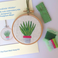NEW Pot Plant Hand Embroidery Kit, Wall Hoop, DIY needlepoint kit