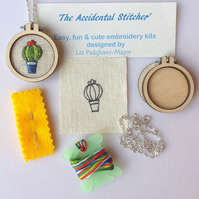 Cactus Pendant Hand Embroidery Kit, jewelery making kit.