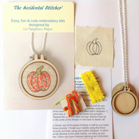 Embroidery Kit, Halloween, Pumpkin Pendant Kit, beginners embroidery kit