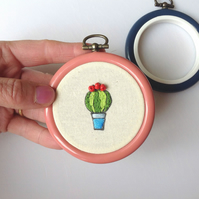 Embroidery Kit, Wall Hoop, DIY Cute Cactus Kit
