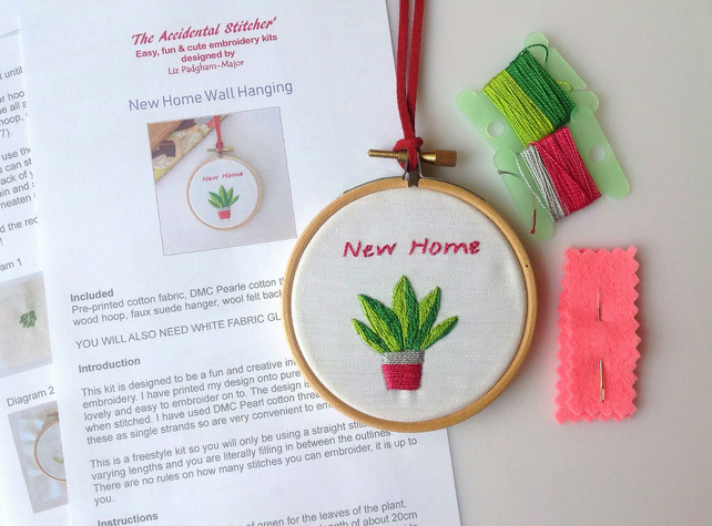 New Home Gift, Embroidery Kit, Wall Hoop, DIY needlepoint kit