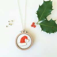 Christmas Santa Hat Pendant Kit, Embroidery kit