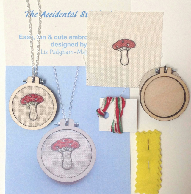 Embroidery Kit, Toadstool Pendant Kit, beginners embroidery.