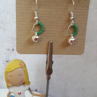 Green Beaded Hanging Bell Earrings