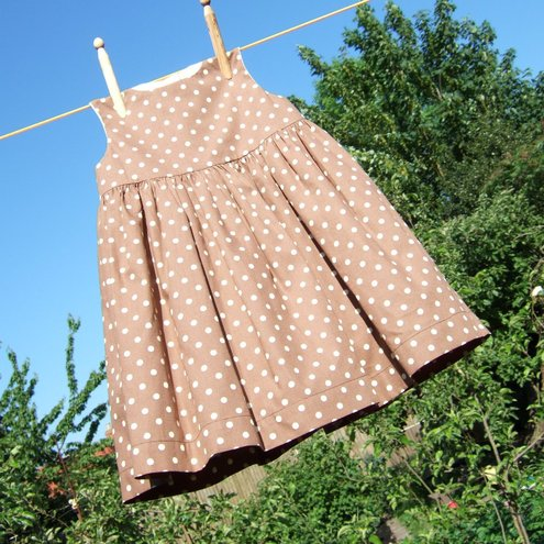 SOUTHWOLD dress in brown/cream polka dot cotton
