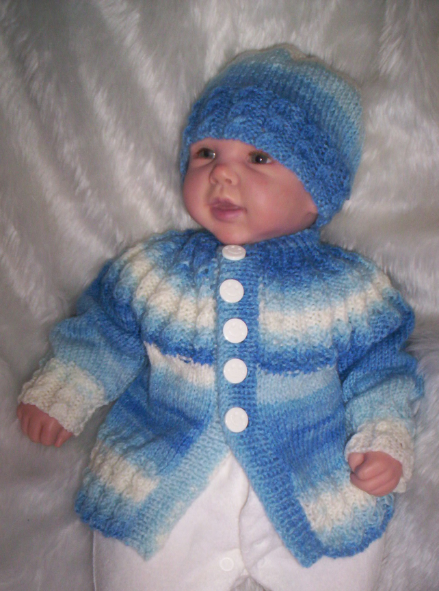 Hand Knitted Cardigan Newborn Baby or Reborn 19-20""