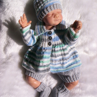 "Sweet Hand Knitted Matinee Jacket Set Newborn or 19 to 20"" reborn"