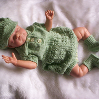 "Cute Hand Knitted Romper Set for Newborn Baby or  Reborn 19"" to 21"""