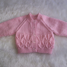 "Sweet Hand Knitted Cardigan 16"" chest Newborn Baby or 19"" to 20"" Reborn Doll"