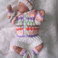 "Hand Knitted 4pce Matinee Jacket Set for Newborn Baby or Reborn 19"" to 20"""