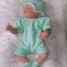 "Sweet Romper 3 pce Set 0 to 3mth  Baby or 20"" to 22"" Reborn"