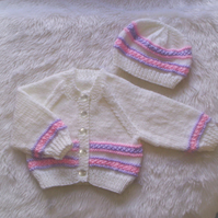 "Sweet Hand Knitted Cardigan and Hat Set 0 to 3mths Baby or Reborn 21"" to 22"""