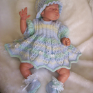 "Hand Knitted 4pce Angel top Set for Newborn Baby Girl or Reborn 19"" to 20"""