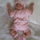 "Sweet Hand Knitted  3 pce Romper Set Newborn Baby or 19"" to 21"" Reborn"
