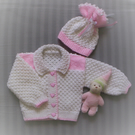 Sweet Hand Knitted Cardigan Jacket Set Reborn 0 to 3 mths Baby or Reborn Baby