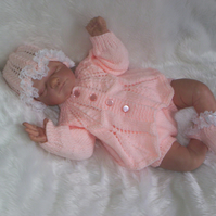 "Sweet Hand Knitted Cardigan and Pants Set Reborn 19"" to 21"" or Newborn Baby"