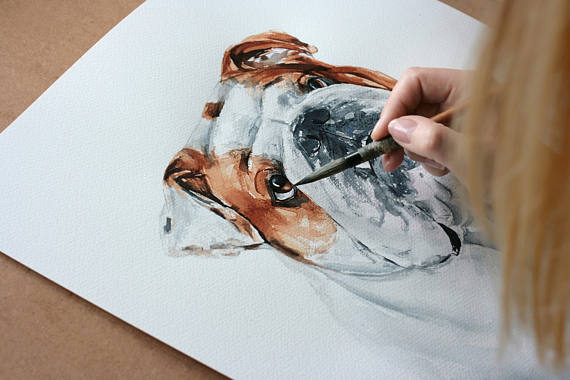"Custom pet portrait in watercolour  15"" x 20"""