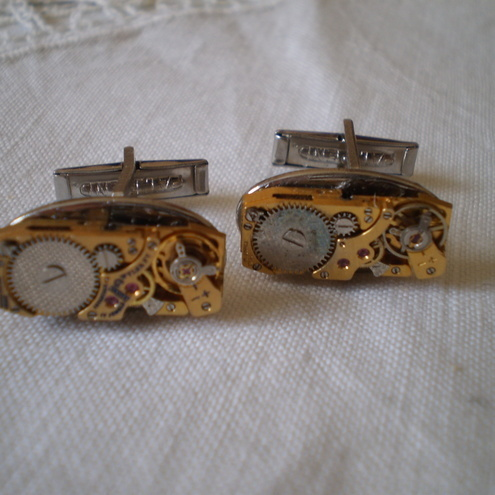 Golden Steampunk Watch Movement Cufflinks.