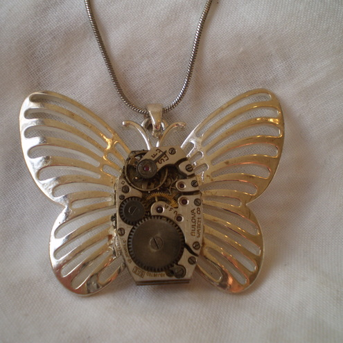 Steampunk Clockwork Butterfly Necklace