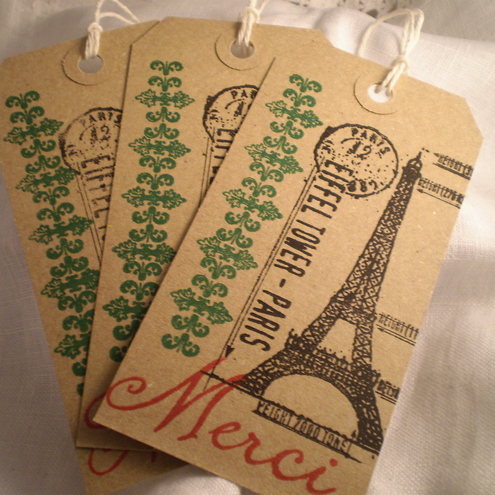 Handstamped  Merci Shabby Chic Gift Tags x 6