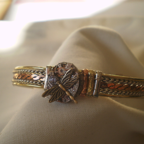 Steampunk Dragonfly Bangle/Bracelet
