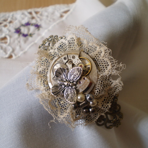 "Steampunk ""Tattered Lace"" Cuff/Bangle"
