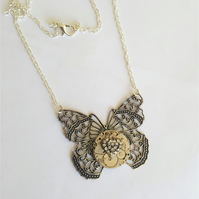 Steampunk Time Flies Butterfly Necklace