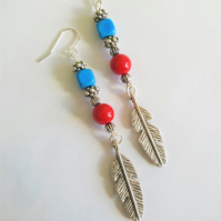 Boho Festival Red and Turquoise Feather Earrings