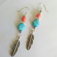 Festival Boho Turquoise and Coral Feather Earrings