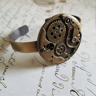 Steampunk Unisex Watch Movement Bangle Cuff