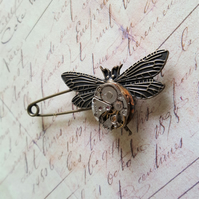 Steampunk Wings Of Time Brooch Pin