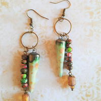 Tribal Bead Asymmetrical Drop Artisan Earrings Handmade Ceramic Drops